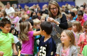 Teachers & students celebrate being named a National Blue Ribbon School