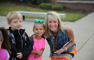 Mrs. Hatch with kindergarten students on their 1st day (8/24/17)