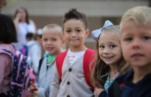 Students excited about the 1st Day of Kindergarten (8/24/17)
